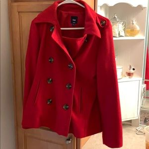 Red Pea Coat from GAP